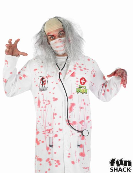 SALE! Adult Walking Dead Zombie Doctor Mens Halloween Fancy Dress Costume Outfit Thumbnail 1