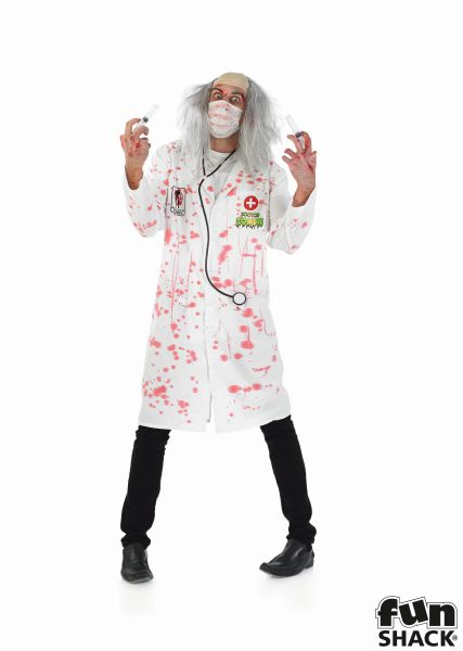 SALE! Adult Walking Dead Zombie Doctor Mens Halloween Fancy Dress Costume Outfit Thumbnail 2