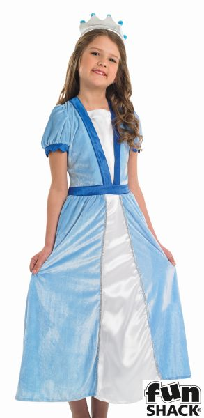 Girls Blue Princess Fancy Dress Costume  Thumbnail 1