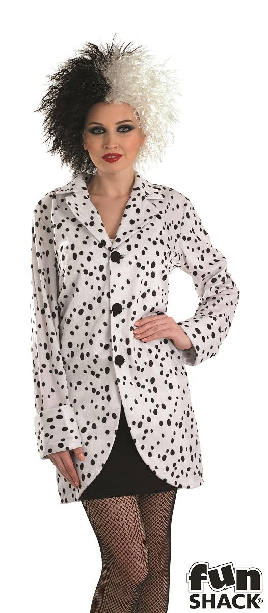 Women's Dalmation Jacket Fancy Dress Costume