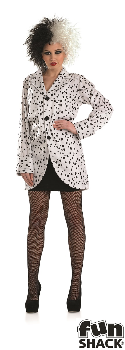 Women's Dalmation Jacket Fancy Dress Costume  Thumbnail 2
