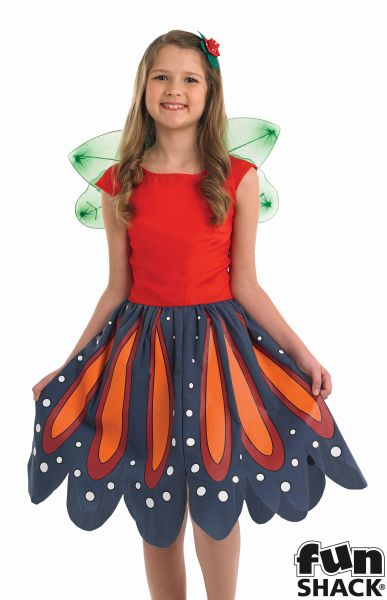 Girls Red Woodland Fairy Fancy Dress Costume