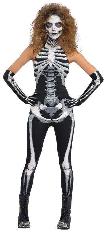 Adult Sexy Bone-A-Fied-Skeleton Babe Ladies Halloween Fancy Dress Costume Outfit