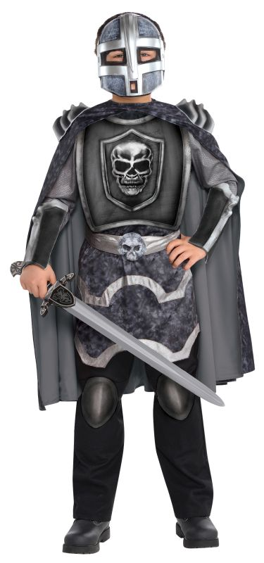 Kids Evil Knight Terror Ghost Boys Halloween Fancy Dress Childs Costume Outfit