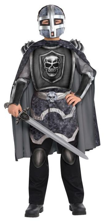 Kids Evil Knight Terror Ghost Boys Halloween Fancy Dress Childs Costume Outfit Thumbnail 1
