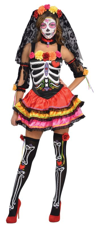 Day of The Dead Senorita Costume Ladies Halloween Fancy Dress Sugar Skull Outfit