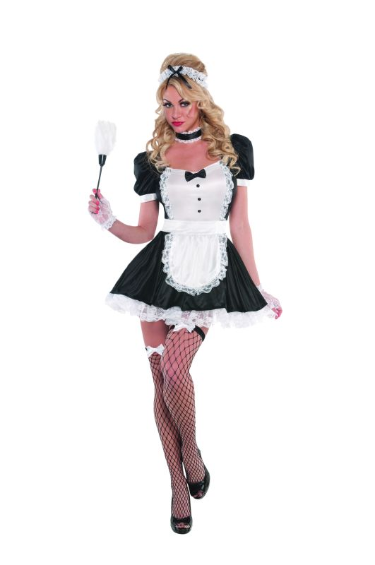 Deluxe Sexy French Maid Ladies Fancy Dress Costume Hen Party Outfit Size 8 - 16