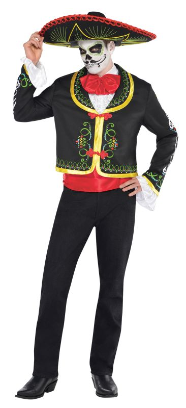 Adult Mexican Day Of The Dead Senor Mens Halloween Fancy Dress Costume Outfit