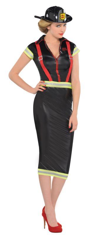 Pin Up Firegirl Fancy Dress Costume