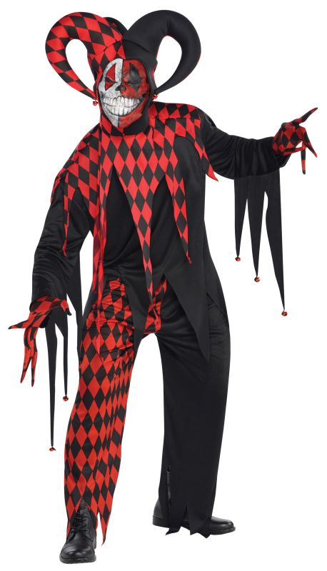 Mens Halloween Krazed Jester Clown Costume Gents Halloween Fancy Dress Outfit