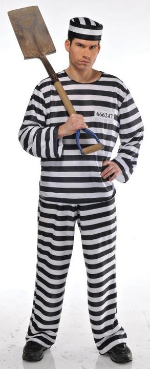 Mens Jailbird Fancy Dress Costume  Thumbnail 1