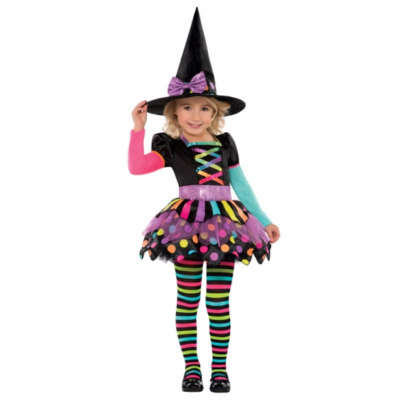 Girls Halloween Miss Matched Witch Fancy Dress Costume