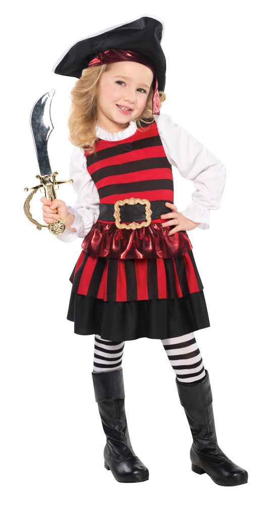 Girls Little Lass Pirate Fancy Dress Costume