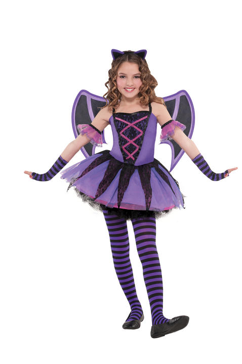 Kids Cute Ballerina Bat Girls Halloween Party Fancy Dress Childs Costume Outfit Thumbnail 1