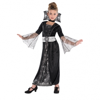Kids Dark Vampire Countess Girls Halloween Fancy Dress Childs Costume Outfit Thumbnail 1