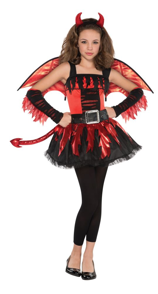 Teen Red Devil Daredevil Girls Halloween Party Fancy Dress Childs Costume Outfit