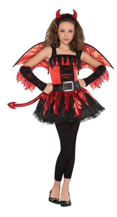 Teen Red Devil Daredevil Girls Halloween Party Fancy Dress Childs Costume Outfit Thumbnail 1