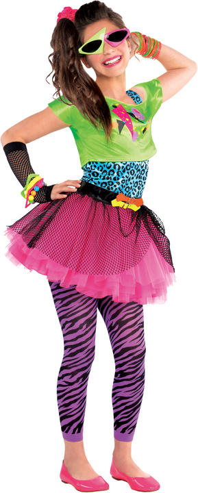 SALE! Teen 80s Totally Awesome Girls Fancy Dress Costume Party Outfit Age 10-14 Thumbnail 1