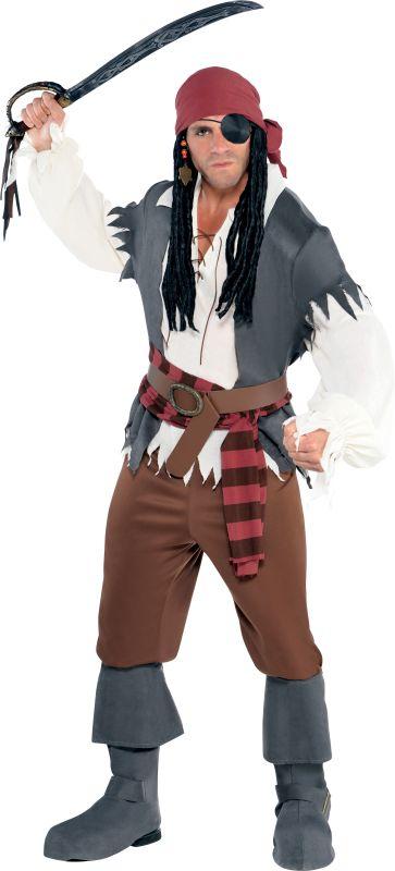 Mens Captain Castaway Fancy Dress Costume