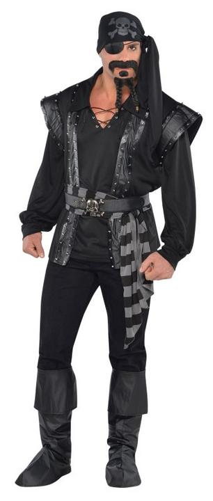 Adult Evil Dark Sea Scoundrel Pirate Mens Halloween Fancy Dress Costume Outfit Thumbnail 1