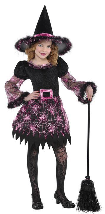 Kids Darling Pink Witch Girls Halloween Party Fancy Dress Childs Costume Outfit Thumbnail 1