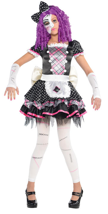Kids Damaged Zombie Doll Girls Halloween Party Fancy Dress Childs Costume Outfit Thumbnail 1