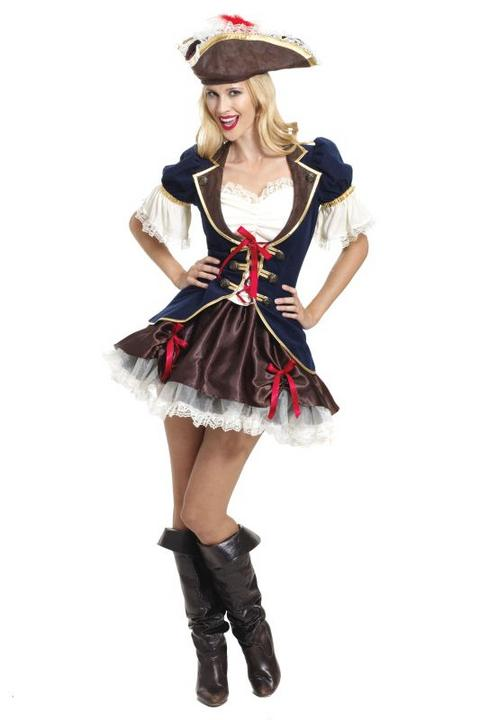 Ladies Captain Buccaneer Fancy Dress Costume  Thumbnail 1