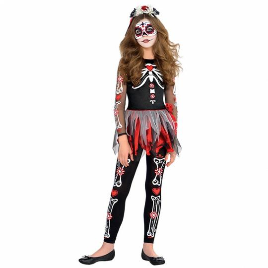Teen Mexican Day Of The Dead Zombie Skeleton Girls Halloween Fancy Dress Costume Thumbnail 5