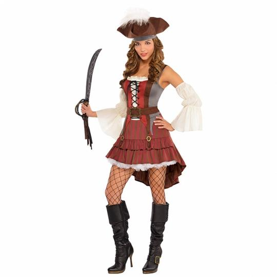 Women's Castaway Pirate Fancy Dress Costume  Thumbnail 1