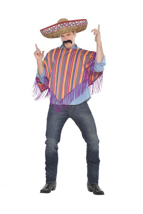 Mens Mexican Poncho and Sombrero Fancy Dress Costume Thumbnail 1