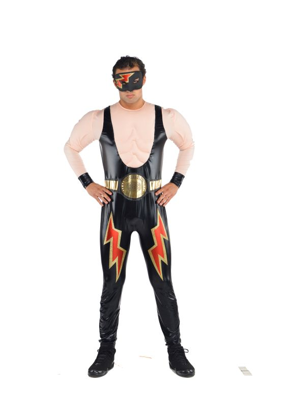 Mens Wrestler Fancy Dress Costume