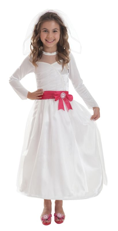 Girls Barbie Bride Fancy Dress Costume