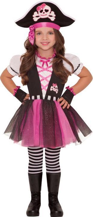 Girls Dazzling Pink Pirate Fancy Dress Costume Thumbnail 1