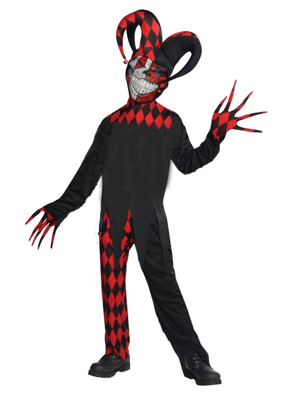 Kids Krazed Evil Jester Clown Boys Halloween Horror Fancy Dress Childs Costume