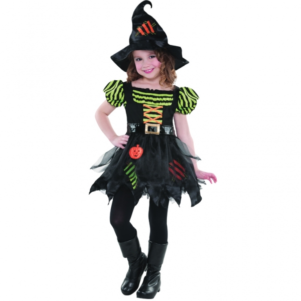 Girls Halloween Pumpkin Patch Witch Costume Kids Horror Fancy Dress Outfit