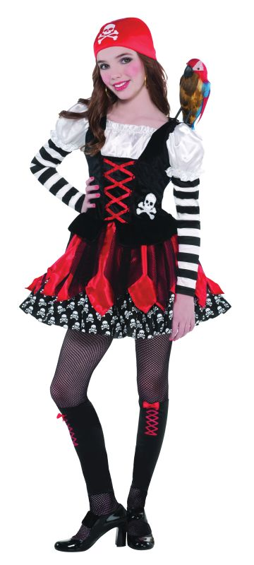Girls Crossbone Cutie Pirate Fancy Dress Costume