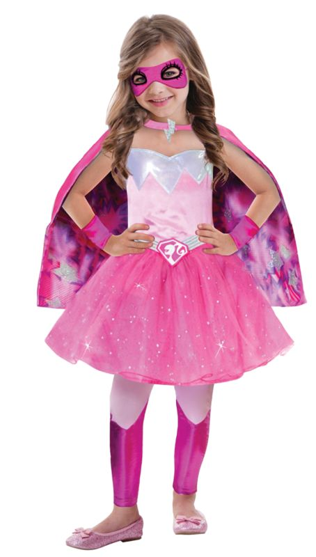 Girls Barbie Super Power Princess Fancy Dress Costume