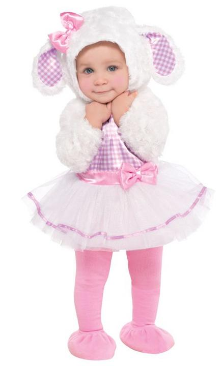 Girls Toddler Little Lamb Fancy Dress Costume  Thumbnail 1