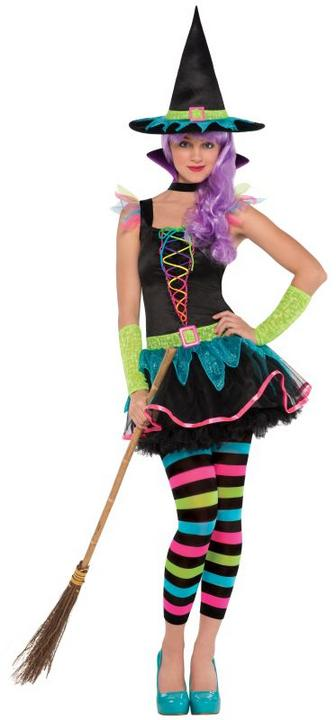 SALE! Kids Neon Witch Girls Halloween Party Fancy Dress Teen Costume Outfit Thumbnail 1