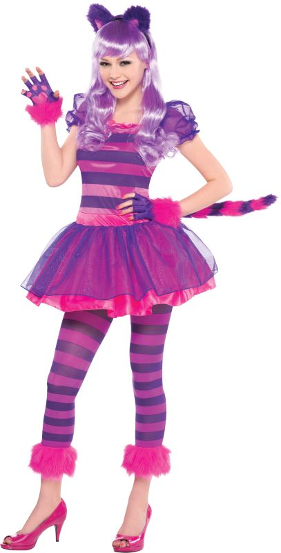 Teen Cheshire Cat Girls Fancy Dress Costume Party Outfit