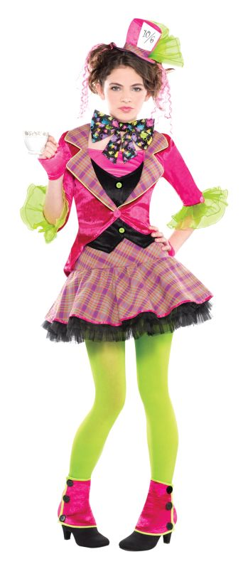 Girls Teen Mad Hatter Fancy Dress Costume