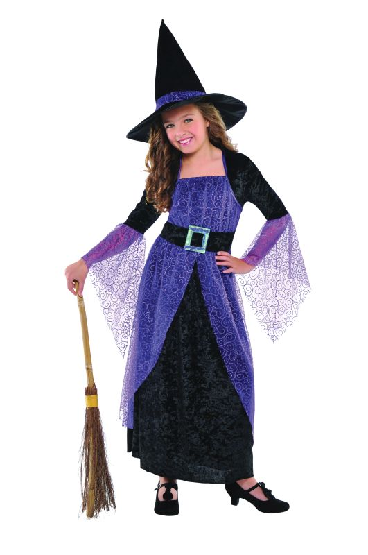 Kids Pretty Potion Witch Girls Halloween Party Fancy Dress Childs Costume Outfit