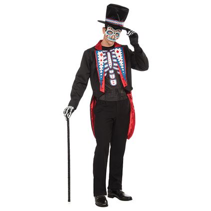 Adult Day Of The Dead Zombie Tail Suit Mens Halloween Fancy Dress Costume Outfit