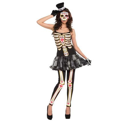 Adult Mexican Day Of The Dead Zombie Tutu Ladies Halloween Fancy Dress Costume
