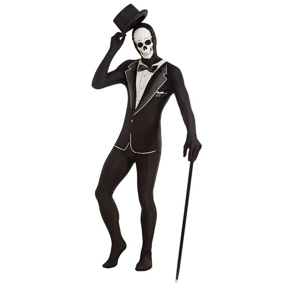 Adult Tuxedo Skeleton Disappearing Mens Halloween Fancy Dress Costume Outfit