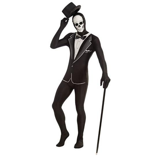 Adult Tuxedo Skeleton Disappearing Mens Halloween Fancy Dress Costume Outfit Thumbnail 1