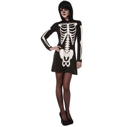 Adult Hooded Skeleton Bones Ladies Halloween Party Fancy Dress Costume Outfit
