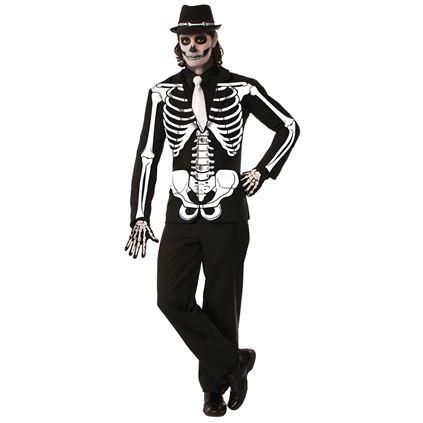 Mens Halloween Skeleton Jacket Costume Gents Halloween Fancy Dress Outfit