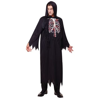 SALE Adult Evil Skeleton Reaper Mens Halloween Horror Fancy Dress Costume Outfit Thumbnail 1
