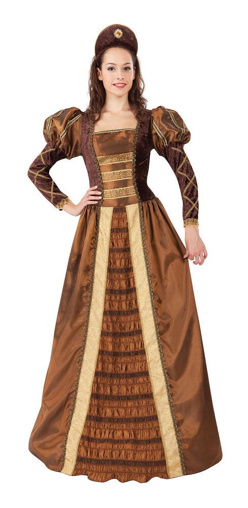 Beautiful Long Golden Queen Ladies Fancy Dress Costume Hen Party Outfit